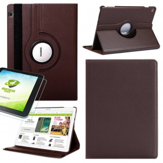 Für Huawei MediaPad M5 Lite Tablet 360 Grad Tasche Hülle Cover Etuis Braun Case