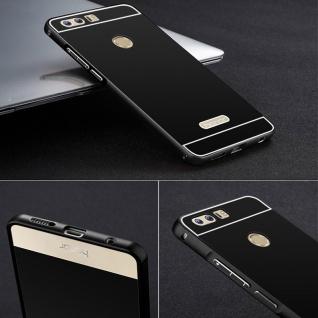 Alu Bumper 2 teilig mit Abdeckung Schwarz für Huawei Honor 8 Tasche Hülle Case
