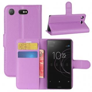 Schutzhülle Lila für Sony Xperia XZ1 Compact / Mini Bookcover Tasche Case Cover