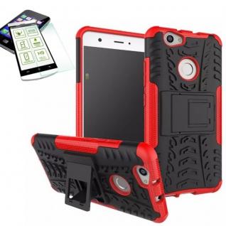 Hybrid Case Tasche Outdoor 2teilig Rot für Huawei Nova + Hartglas Cover Schutz