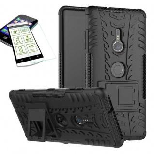 Für Sony Xperia XZ3 Hybrid Case 2 teilig Schwarz Hülle + 0, 3 mm H9 Glas Tasche