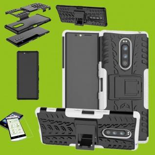 Für Sony Xperia 1 6.5 Zoll Hybrid Case Weiß Hülle + 0, 3 mm H9 Glas Tasche Etuis