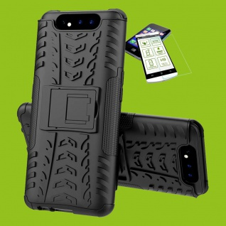 Für Samsung Galaxy A80 Hybrid Tasche Outdoor 2teilig Schwarz + H9 Glas Panzer