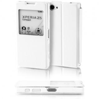 Booktasche Window Weiß für Sony Xperia Z5 Compact 4.6 Tasche Cover Hülle Case