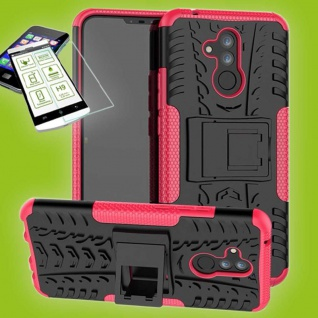 Für Huawei Mate 20 Lite Hybrid Tasche Outdoor 2teilig Pink Hülle + H9 Glas Case