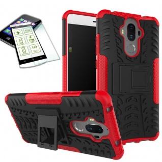 Hybrid Case Tasche Outdoor 2teilig Rot für Huawei Mate 9 + Hartglas Cover Neu