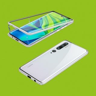 Beidseitiger 360 Magnet Glas Bumper Tasche Silber für Xiaomi Mi Note 10 / 10 Pro