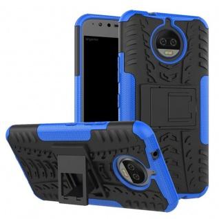 Hybrid Case 2teilig Outdoor Blau Tasche Hülle für Motorola Moto G5S Plus Etui