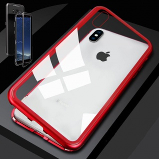 Für Apple iPhone XS MAX Magnet / Metall / Glas Transparent / Rot Tasche Hülle