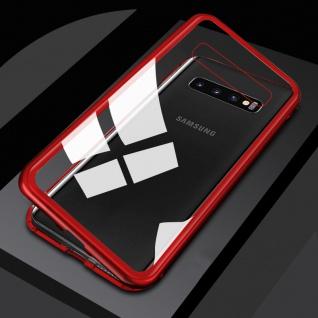 Für Samsung Galaxy S10 G973F Magnet / Metall Rot / Transparent Tasche Hülle Etui