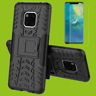 Für Huawei Mate 20 Pro Hybrid Tasche 2teilig Schwarz Hülle + 4D Curved H9 Glas