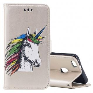 Tasche Wallet Einhorn Gold für Huawei P10 Lite Hülle Case Cover Etui Schutz Neu