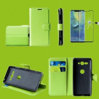 Für Huawei P30 Pro Tasche Wallet Grün Hülle Etuis + H9 4D Curved Hart Glas Case