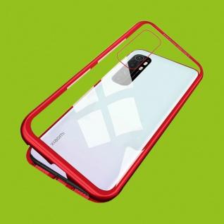 Für Xiaomi Mi Note 10 Lite Magnet Metall Glas Rot Handy Tasche Hülle Case Etuis