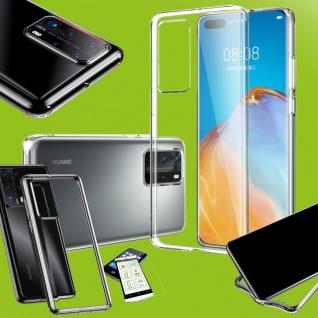 Für Huawei P40 Silikon TPU Transparent + 3D H9 Glas Handy Tasche Hülle Etuis Neu
