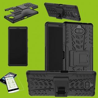Für Sony Xperia 10 Hybrid Case 2 teilig Schwarz Hülle + 0, 3 mm H9 Glas Tasche