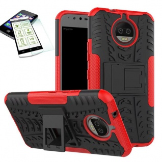 Hybrid Case Tasche Outdoor 2teilig Rot für Motorola Moto G5S Hülle Hartglas