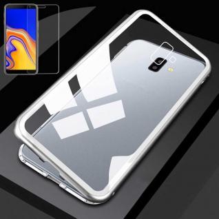 Für Samsung Galaxy J4 Plus J415F Magnet Tasche Silber / Transparent + H9 Glas
