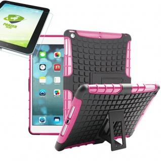 Für Apple iPad 9.7 2018 Hybrid Outdoor Schutzhülle Pink Tasche 0.4 H9 Glas Hülle