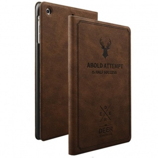 Design Tasche Backcase Smartcover Dunkel Braun für Apple iPad Air 1 / Air 2 Hülle