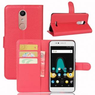 Tasche Wallet Premium Rot für Wiko Upulse Lite Hülle Case Cover Etui Schutz Neu