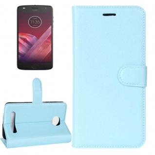Tasche Wallet Premium Blau für Motorola Moto Z2 Play Hülle Case Cover Etui Neu