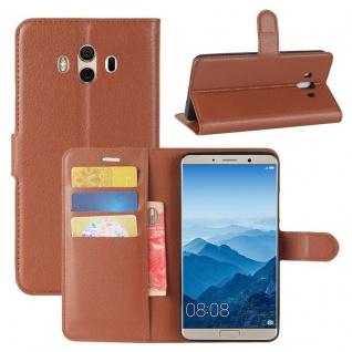 Tasche Wallet Premium Braun für Huawei Mate 10 Hülle Case Cover Etui Schutz Neu