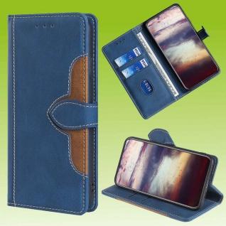 Für Samsung Galaxy S20 FE Design Handy Tasche Blau Etuis Kunst-Leder Hülle Case