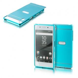 Alu Bumper 2 teilig Abdeckung Blau für Sony Xperia Z5 5.2 Zoll Tasche Hülle Case