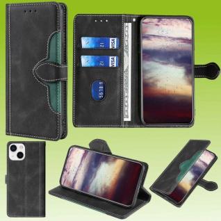 Für Apple iPhone 13 Design Handy Tasche Schwarz Etuis Schutz Kunst-Leder Hülle