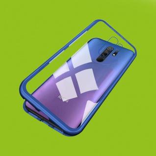 Für Xiaomi Redmi 9 Magnet Metall Glas Blau Handy Tasche Hülle Case Cover Etuis