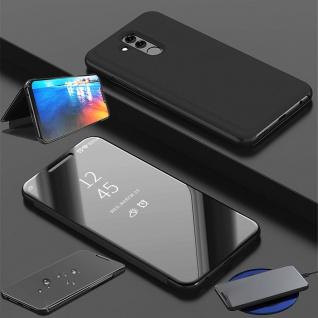 Für Huawei P30 Lite Clear View Smart Cover Schwarz Etuis Tasche Hülle Wake UP