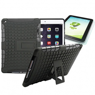 Hybrid Outdoor Schutzhülle Schwarz für iPad Air 2 Tasche + 0.4 H9 mm Panzerglas