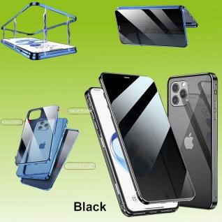 Beidseitiger Magnet Glas Bumper Privacy Schwarz für Apple iPhone 12 Mini Tasche