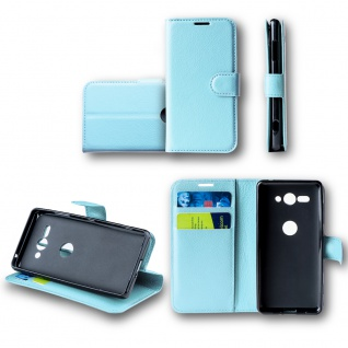 Für Huawei P30 Tasche Wallet Blau Hülle Case Cover Etuis Schutz Kappe Schutz