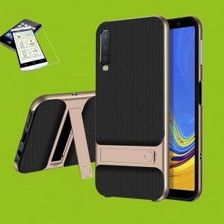 Für Samsung Galaxy A7 A750F Standing Tasche Outdoor Etuis Hülle Gold + H9 Glas