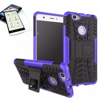Hybrid Case Tasche Outdoor 2teilig Lila für Huawei Nova + Hartglas Cover Neu