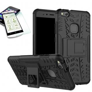Hybrid Case Tasche Outdoor 2teilig Schwarz für Huawei P10 Lite Hülle Hartglas