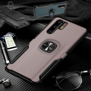 Für Huawei P30 Lite Hybrid Magnet Metall Ring Tasche Pink + H9 Glas Etuis Hülle