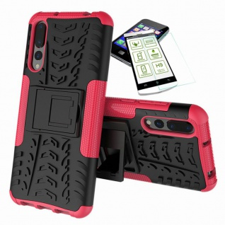Für Huawei P20 Hybrid Case Tasche Outdoor 2teilig Pink Hülle + H9 Glas Hülle Neu