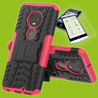 Für Motorola Moto G7 / G7 Plus Hybrid Tasche Etui Outdoor 2teilig Pink + H9 Glas