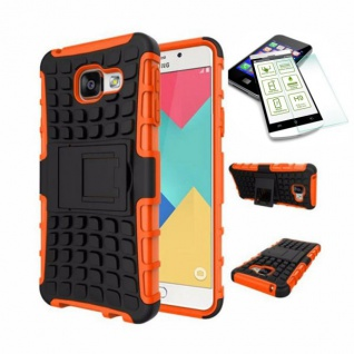 Hybrid Case Tasche 2teilig Orange für Samsung Galaxy A3 2016 A310F + Hartglas