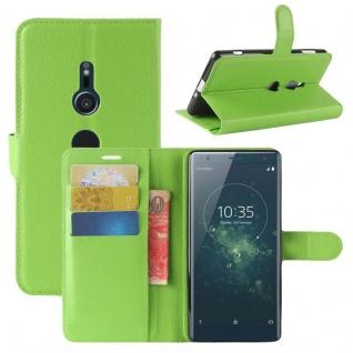 Tasche Wallet Premium Grün für Sony Xperia XZ2 Hülle Case Cover Schutz Etui Neu