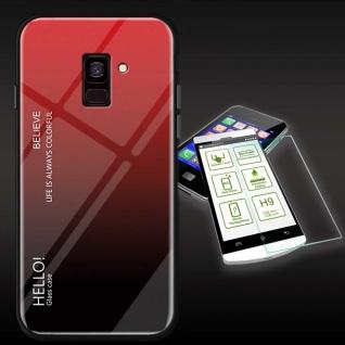 Für Samsung Galaxy J4 Plus J415F Color Effekt Rot Tasche Hülle H9 Hart Glas Neu
