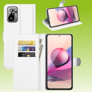 Für Xiaomi Redmi Note 10 Pro Handy Tasche Weiß Etuis Kunst-Leder Cover Hülle Neu
