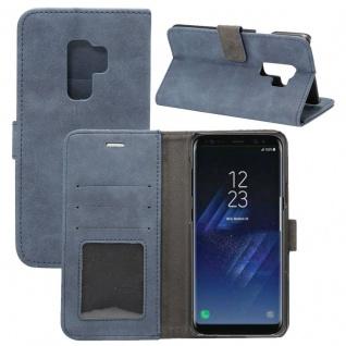 Deluxe Retro Tasche Wallet Blau für Samsung Galaxy S9 Plus G965F Hülle Case Neu