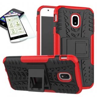 Hybrid Case Tasche 2teilig Rot für Samsung Galaxy J3 2017 J330F + H9 Hartglas