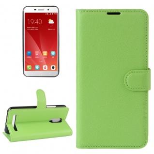 Tasche Wallet Premium Grün für ZTE Blade A602 Hülle Case Cover Etui Schutz Neu