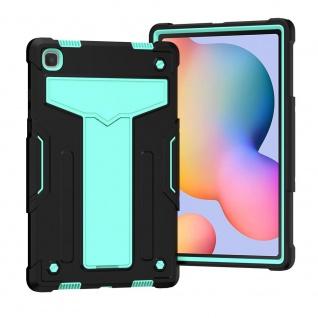 Für Samsung Galaxy Tab A7 aufstellbare Tablet Schutzhülle Cover Schwarz Grün