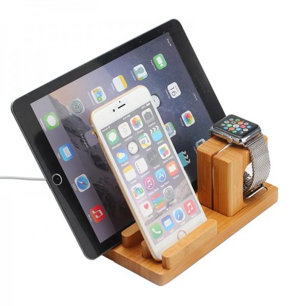 Docking Station Ladestation Bambus Tisch Ständer für iPad iWatch ...